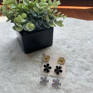 Set of 3 floral black cream statement earring stud